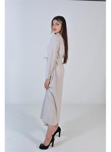 Zeren Kadın Taş Belden Bağlama Düğmeli Elbise Taş
